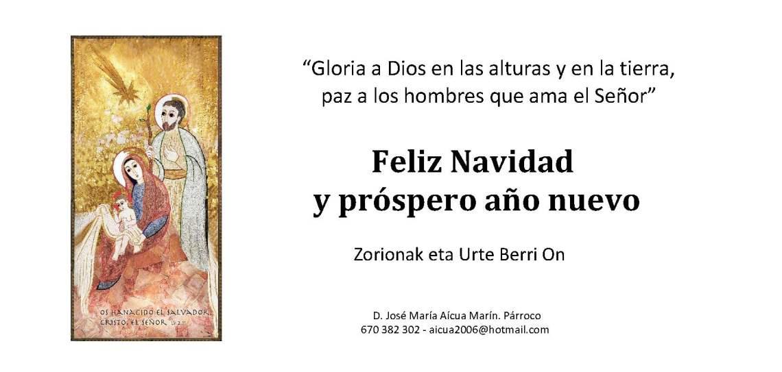 Felicitación parroquia Navidad 2019